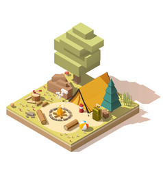 isometric low poly campsite vector image vector image