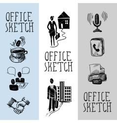 Office sketch banner design vector image vector image