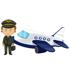 pilot and airplane on white background vector image