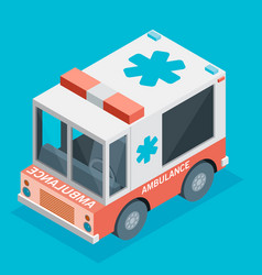 Ambulance car isometric view of transport vector