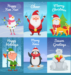 Cute christmas cards with funny characters vector