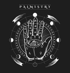 esoteric human hand fish tattoo poster vector image vector image