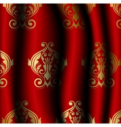 luxury red material with gold pattern vector image vector image
