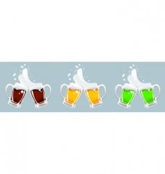 three beer mug vector image