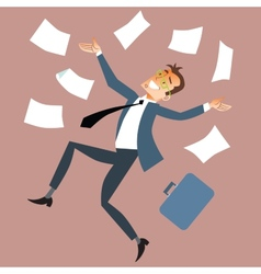 Businessman throws paper vector image vector image