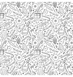 Christmas seamless pattern in doodle style vector image