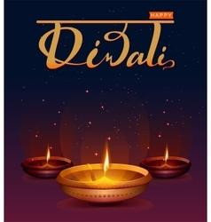 Happy Diwali festival of lights Retro oil lamp on vector image