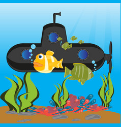 submarine at the depth ocean vector image vector image