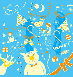 the of new year different elements vector image