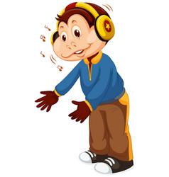A monkey listen to music vector