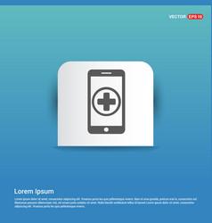 add mobile phone icon - blue sticker button vector image