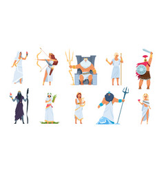 Ancient greek gods cartoon cute legendary vector