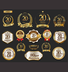 Anniversary golden laurel wreath and badges 20 vector