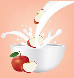 Apple in milk splash vector