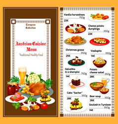 Austrian cuisine traditional lunch dishes menu vector