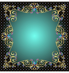 Background frame with jewels gold ornaments vector