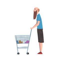 Bald bearded man standing with shopping cart vector