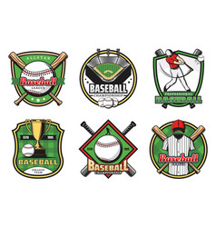 Baseball team sport icons and emblems vector
