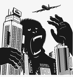 big gorilla monster in the center of the city vector image