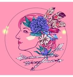 Boho style girl vector