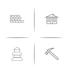 Buildings and constructions simple linear icon vector