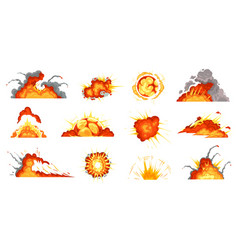 cartoon explosions exploding bomb fire cloud and vector image
