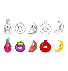 Cartoon fruits set coloring book pages for kids vector