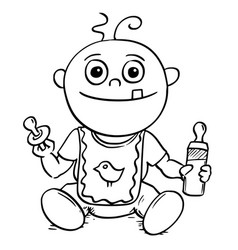 Cartoon of baby with dummy pacifier and feeding vector