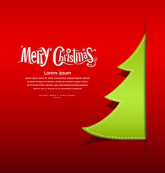 Christmas green tree paper design vector image vector image