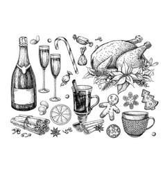 Christmas traditional food and drink set holiday vector