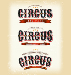 circus banners on vintage background vector image