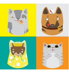 Collection of funny dogs and cats vector