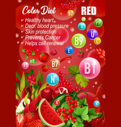 color detox diet red products day menu vector image