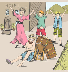 Comic strip tired travelers came to civilization vector