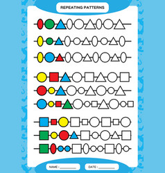 Complete repeating patterns worksheet for vector