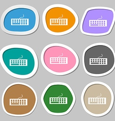 Computer keyboard Icon Multicolored paper stickers vector