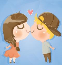 Couple cute boy and girl vector
