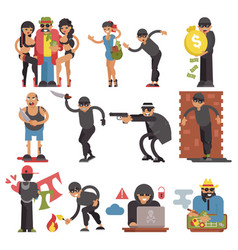Criminals burglars or burglar character of vector
