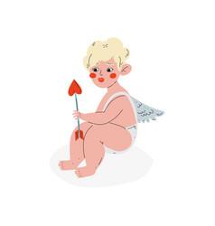 Cute cupid with arrow of love amur baby angel vector