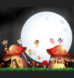 cute fairies flying over mushroom house vector image