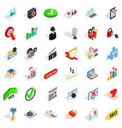 Cyberspace icons set isometric style vector