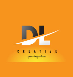 Dl d l letter modern logo design with yellow vector