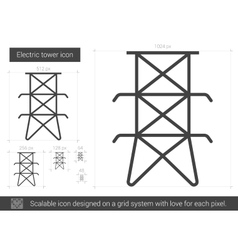 Electric tower line icon vector image