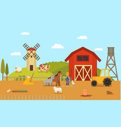 Farm or ranch with cartoon characters vector