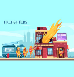 fighting fire horizontal composition vector image