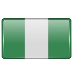 Flags Nigeria in the form of a magnet on vector