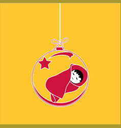 Flat christmas ball with bow star and baby jesus vector