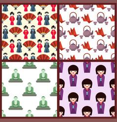 flat colored symbols japan travel vector image