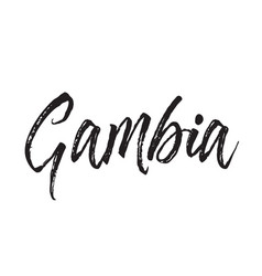 gambia text design calligraphy vector image