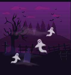 Ghosts mysteries with tomb in scene halloween vector